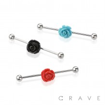 ROSE CENTER 316L SURGICAL STEEL INDUSTRIAL BARBELL