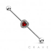 CZ PAVED HEART CENTER 316L SURGICAL STEEL INDUSTRIAL BARBELL