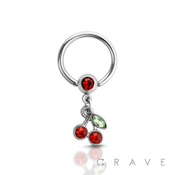 CHERRY DANGLE 316L SURGICAL STEEL CAPTIVE BEAD RING