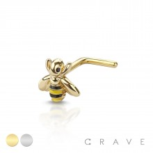 """316L SURGICAL STEEL NOSE """"L""""BEND BUMBLE BEE SHAPE (BEE SIZE 5MM)"""