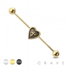 HEART CROSS CENTERED 316L SURGICAL STEEL INDUSTRIAL BARBELL