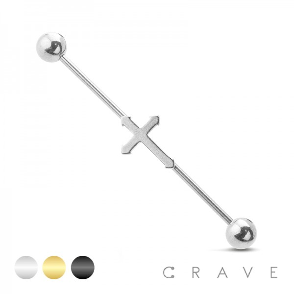 CROSS CENTERED 316L SURGICAL STEEL INDUSTRIAL BARBELL
