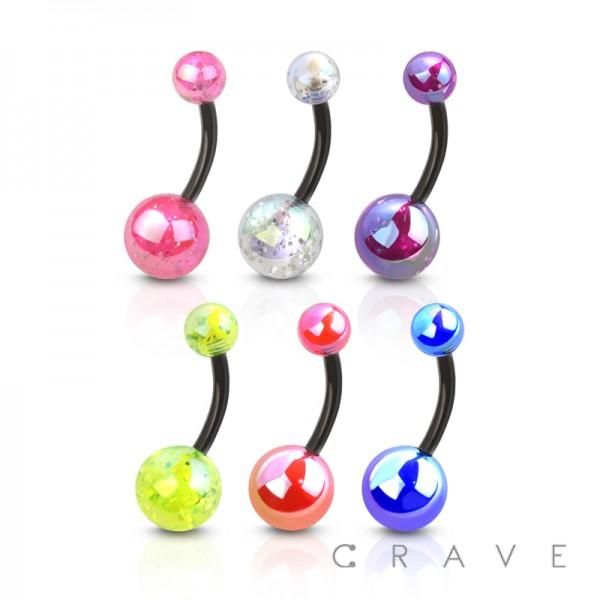 IRIDESCENT EFFECT GLITTER ACRYLIC BALL FLEXIBLE BARBELL BELLY NAVAL RING