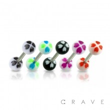 316L SURGICAL STEEL BARBELL WITH MULTI HEART CLOVER DESIGN ACRYLIC BALL