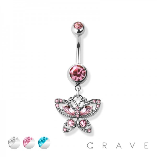 GEM PAVED BUTTERFLY DANGLE 316L SURGICAL STEEL NAVEL RING