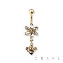 QUEEN BEE DANGLE FLOWER CZ DANGLE 316L SURGICAL STEEL NAVEL RING