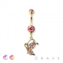 BUTTERLFY DANGLE 316L SURGICAL STEEL NAVEL RING