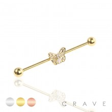 BUTTERFLY CZ CENTERED GOLD PLATED 316L SURGICAL STEEL INDUSTRIAL BARBELL
